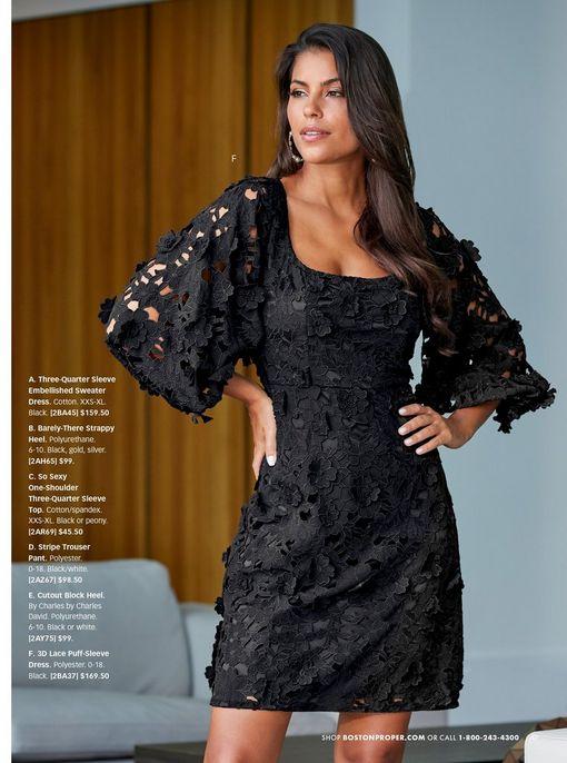 model wearing a black lace balloon sleeve dress.