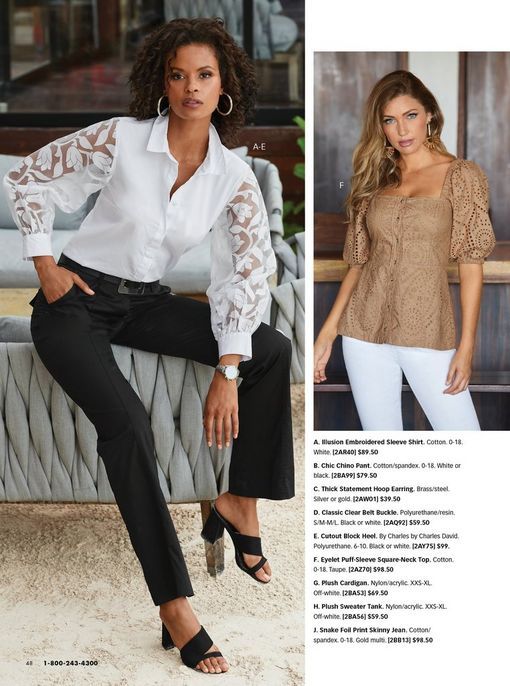 left model wearing a white button-down top with illusion embroidered sleeves, black belt, black chino pants, black block heels, and silver hoop earrings. right model wearing a tan eyelet puff-sleeve square-neck top and white pants.