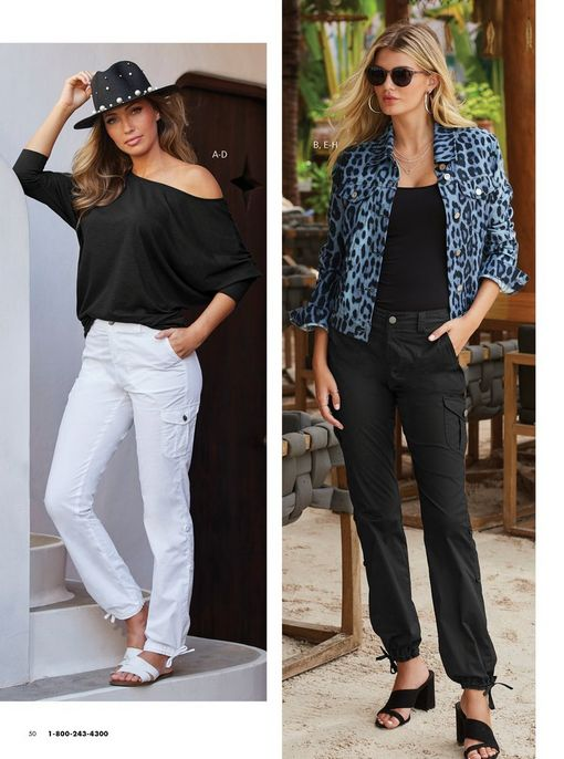 left model wearing an off-the-shoulder black long sleeve slub tee, white cargo pants, black hat with pearls, and white double strap slide sandals. right model wearing a blue leopard print denim jacket, black tank top, black cargo pants, black block heels, silver hoop earrings, and sunglasses.