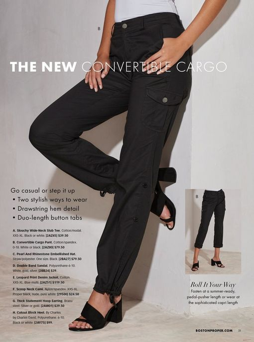 model wearing black cargo pants and black block heels.