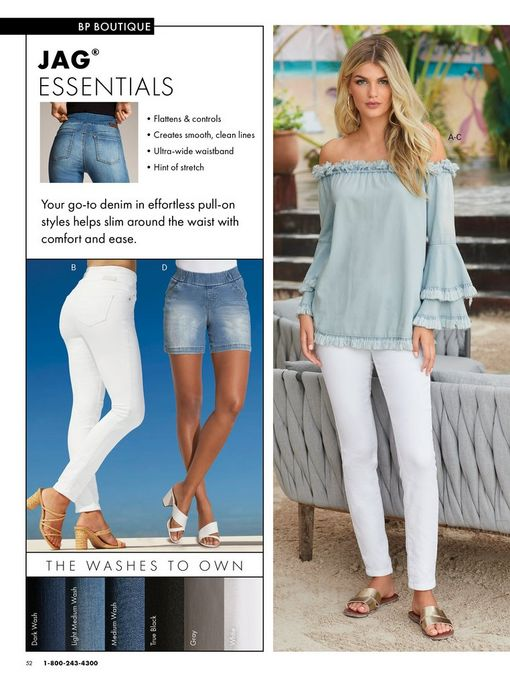 left panel shoes a model wearing white jeans and raffia block heels and another model wearing jean shorts and white block heels. right model wearing a frayed denim off-the-shoulder flare-sleeve top, white jeans, and gold double strap sandals.