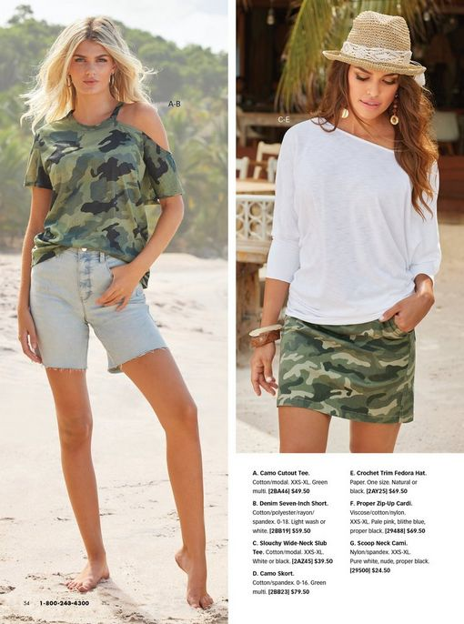 left model wearing a camouflage print off-the-shoulder slub tee and denim button-fly shorts. right model wearing a white off-the-shoulder slub tee, camo skort, and a crochet trim fedora hat.
