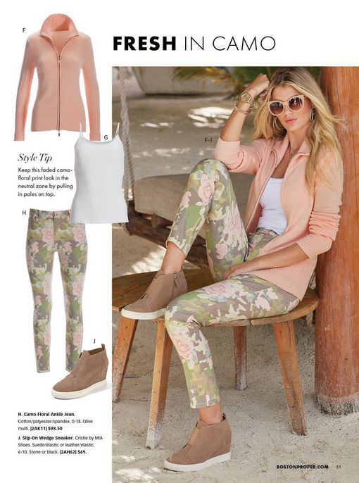 model wearing a pink zip-up cardigan, white tank top, camo print pants, tan wedge sneakers, and sunglasses. all pieces shown to the left.
