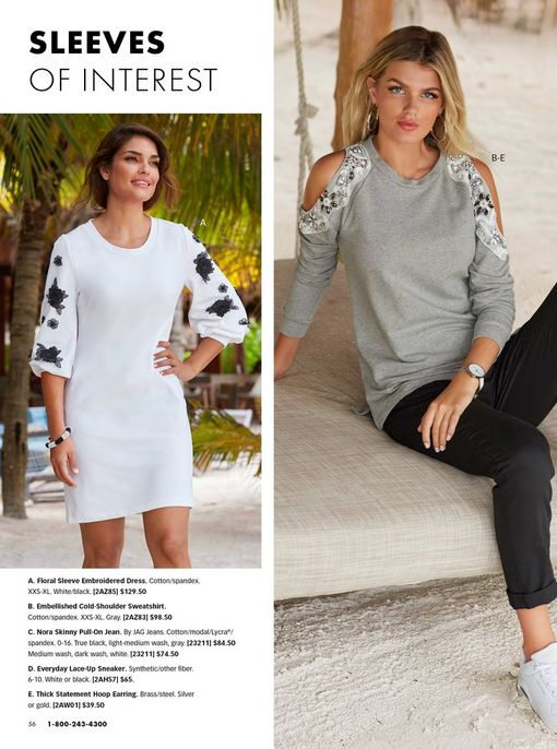 left model wearing a white dress with black flower embroidery along the sleeves. right model wearing a gray cold-shoulder jewel embellished sweatshirt, black jeans, white sneakers, and silver hoop earrings.