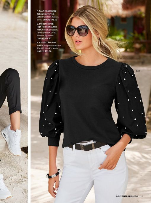 model wearing a black puff-sleeve pearl embellished sweater, black belt, white jeans, and sunglasses.