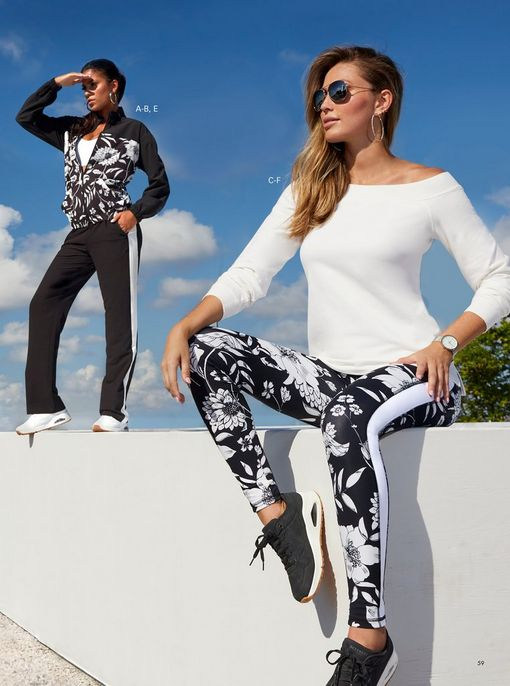 left model wearing a black and white floral print windbreaker two-piece set, white sports bra, white sneakers, and silver hoop earrings. right model wearing a white off-the-shoulder sweatshirt, black and white floral print leggings, black sneakers, and sunglasses.
