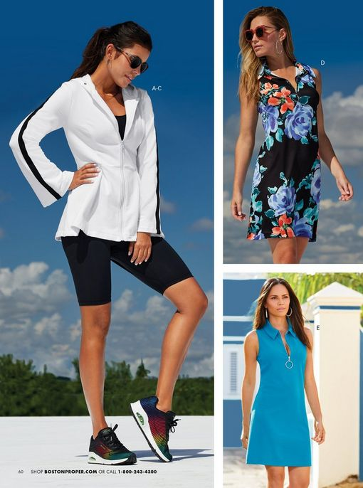 left model wearing a white peplum zip-up sport jacket with a black stripe along the sleeves, black tank top, black biker shorts, multicolored sneakers, and sunglasses. top right model wearing a floral multicolored sleeveless sport dress, silver hoop earrings, and sunglasses. bottom right model wearing a blue sleeveless sport dress and silver hoop earrings.