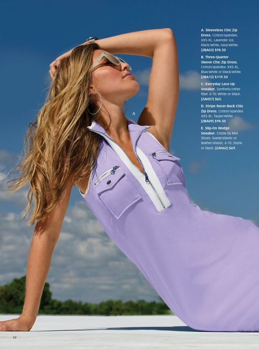 model wearing a lilac and white sleeveless collared sport dress and sunglasses.