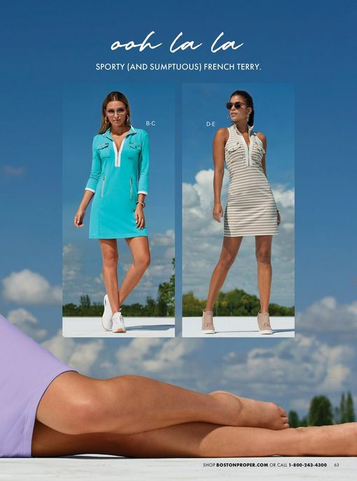 left model wearing a blue and white long-sleeve sport dress, sunglasses, and white sneakers. right model wearing a tan and white striped sleeveless sport dress, sunglasses, and tan wedge sneakers.