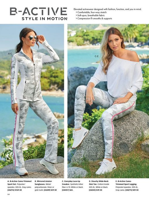 left model wearing a gray and white camouflage two-piece sports set, white sneakers, and sunglasses. right model wearing a white off-the-shoulder long-sleeve slub tee, gray camouflage leggings with a pink stripe, and white sneakers.
