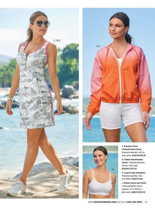 left model wearing a gray camo sleeveless sport dress with pink piping, sunglasses, and white sneakers. top right model wearing an orange and pink ombre windbreaker jacket, white sports bra, and white shorts. bottom right model wearing a white bralette with snake sprint straps.