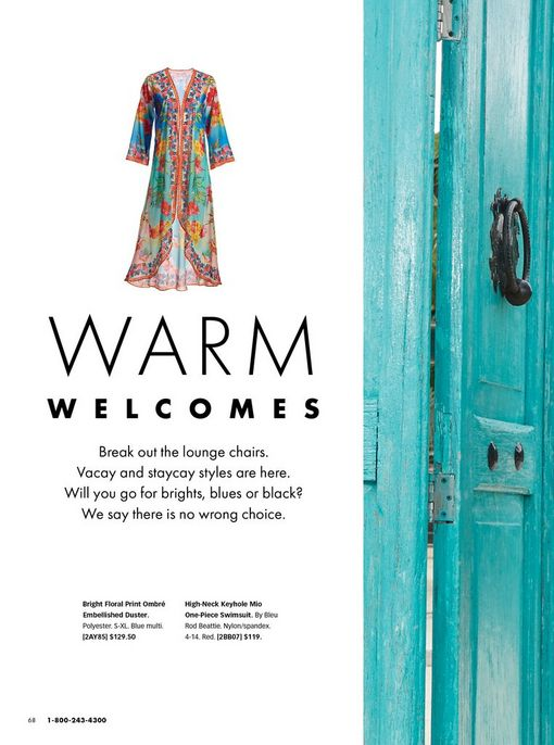 black text on white background with a multicolored printed duster: warm welcomes.