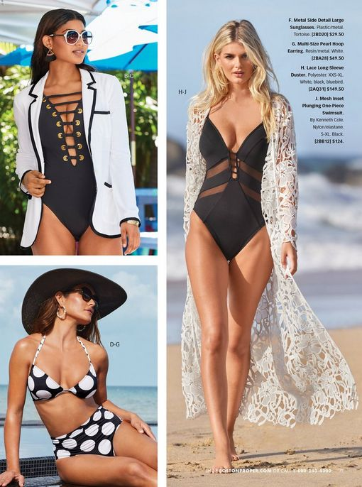 top left model wearing a white terry blazer with black piping, a black plunge one piece swimsuit, and sunglasses. bottom left model wearing a black and white polka-dot bikini, sunglasses, and a black floppy hat. right model wearing a black and mesh cutout one piece swimsuit and a white lace duster.