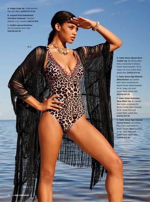 model wearing a leopard print one-piece swimsuit, a gold sea-life chunky necklace, and a black lace duster.