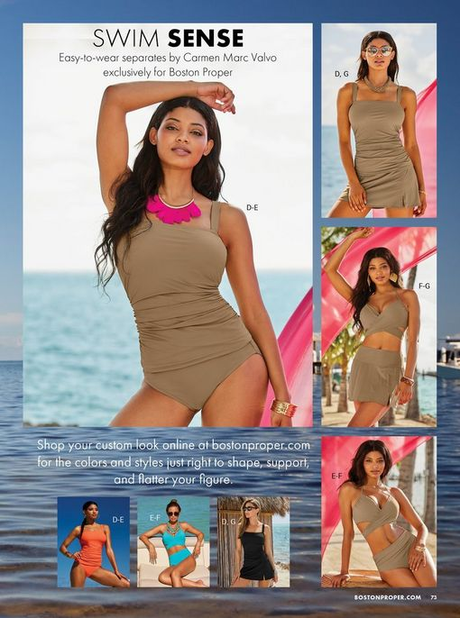 models wearing the swim sense collection in tan, coral, blue, and black.