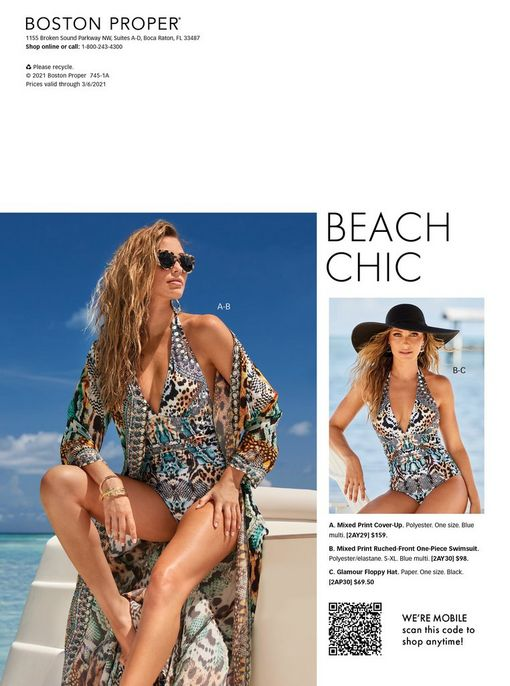 left model wearing a multicolored animal print halter neck one-piece swimsuit, matching duster, and sunglasses. right model wearing a multicolored multi-print halter neck one-piece swimsuit and a black floppy hat.