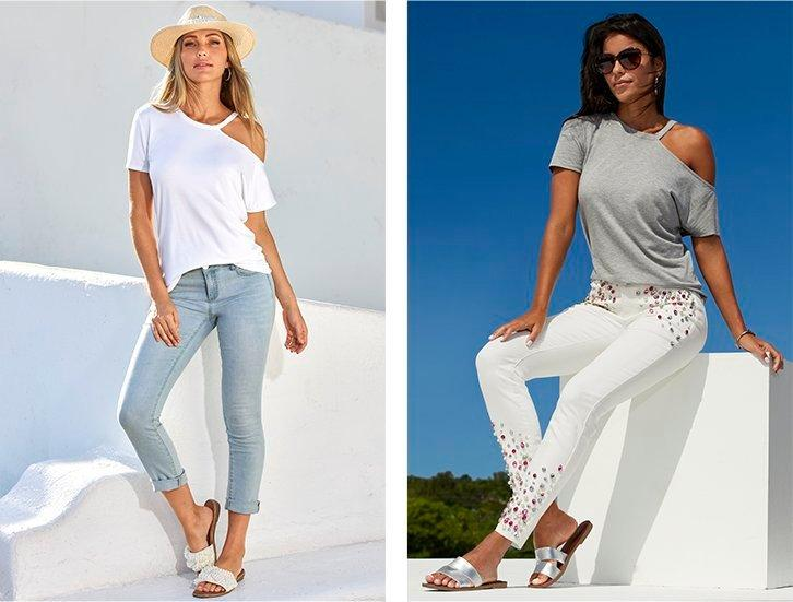 left model wearing a white off-the-shoulder short sleeve casual top, straw hat, light wash jeans, and pearl embellished slide sandals. right model wearing a gray off-the-shoulder short sleeve casual top, sunglasses, white jeans with jewel embellishments, and silver slide sandals.