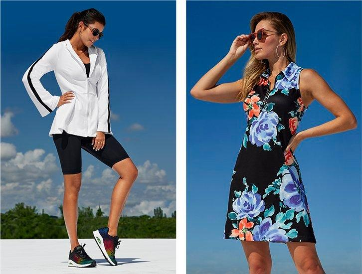 left model wearing a white and black peplum-bottom zip-up sports jacket, black sports bra, black biker shorts, multicolored sneakers, and sunglasses. right model wearing a multicolored floral print sleeveless collared sport dress and sunglasses.