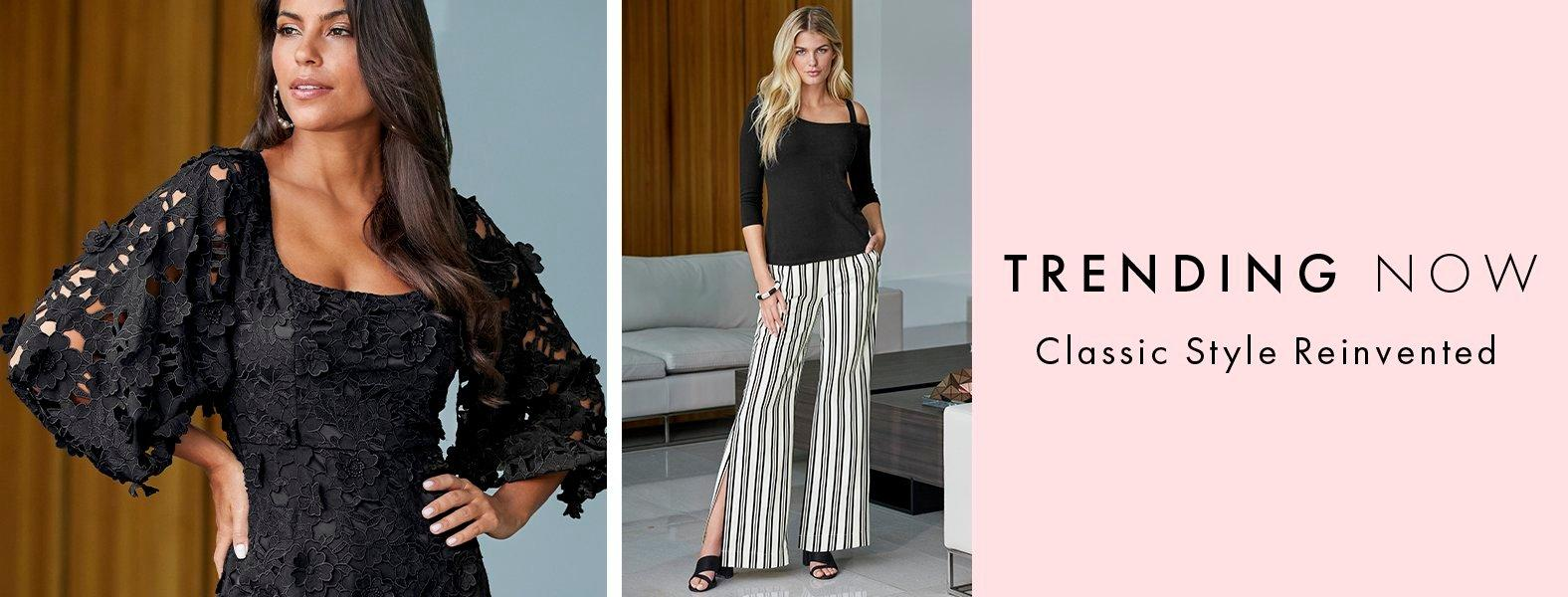 left model wearing a black lace puff-sleeve dress. right model wearing a black off-the-shoulder three-quarter sleeve top and black and white striped palazzo pants.