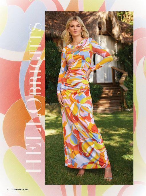 model wearing a multicolored paisley print embellished long-sleeve maxi dress.