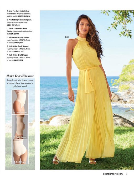 model wearing a yellow pleated mock-neck tie-waist jumpsuit and silver single strap heels. also shown: beige undergarment solutions.