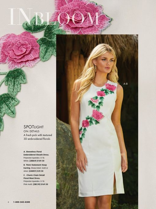 model wearing a white sleeveless sheath dress with floral embroidery.