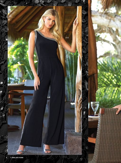 model wearing a black one-shoulder sleeveless jumpsuit with silver embellishments and silver one-strap heels.