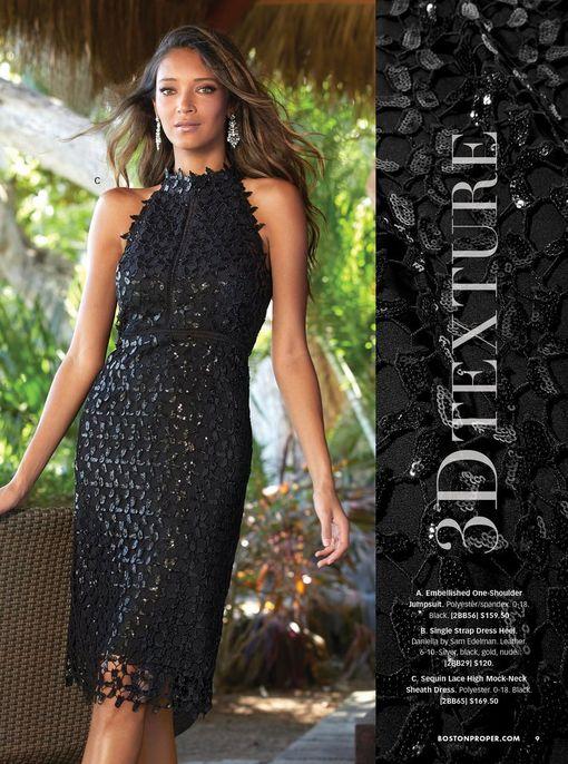 model wearing a black sequin mock-neck sleeveless sheath dress.