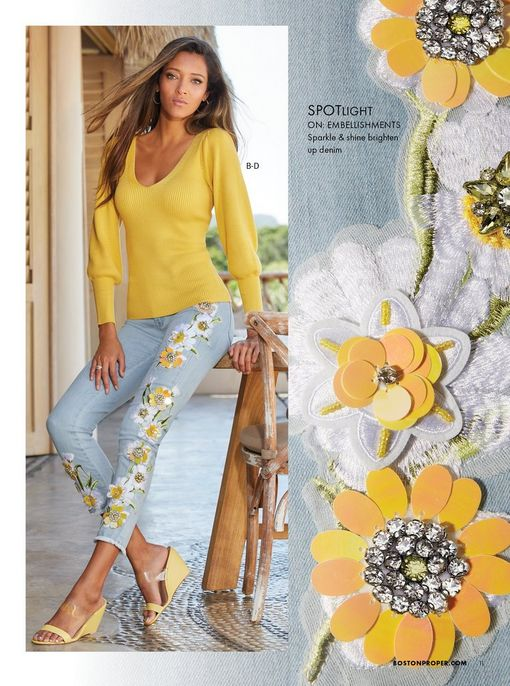 model wearing a yellow balloon sleeve sweater, light wash daisy embroidered jeans, and yellow wedges.
