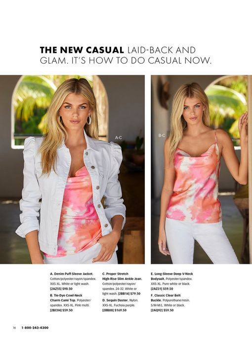 left model wearing a white puff-sleeve denim jacket, white and orange tie-dye cowl neck tank top, and white jeans. right model wearing the same top and jeans.
