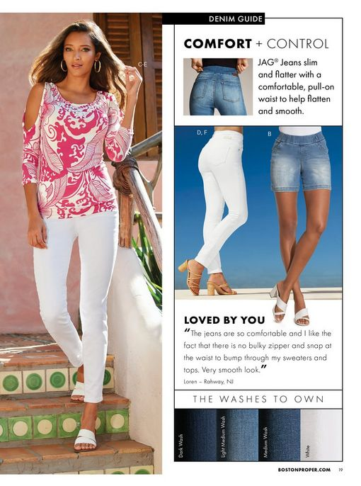 left model wearing a white and pink embellished cold-shoulder sweater, white pants, white double-strap sandals, and gold hoop earrings. right panel shows white jeans and light wash shorts.