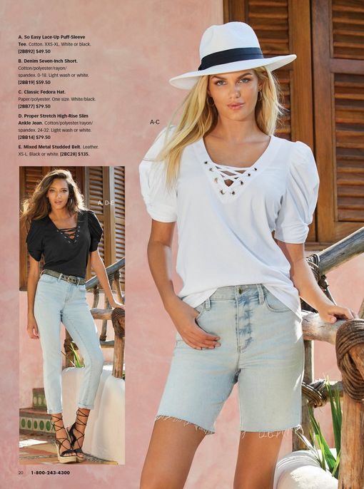 left model wearing a black short sleeve crisscross neckline, light wash jeans, black mixed metal belt, and strappy black wedges. right model wearing a white short sleeve crisscross top, light wash denim shorts, and a white floppy hat.