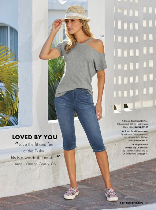 model wearing a gray off-the-shoulder short sleeve tee, cropped jeans, floral printed slip-on sneakers, and straw hat.
