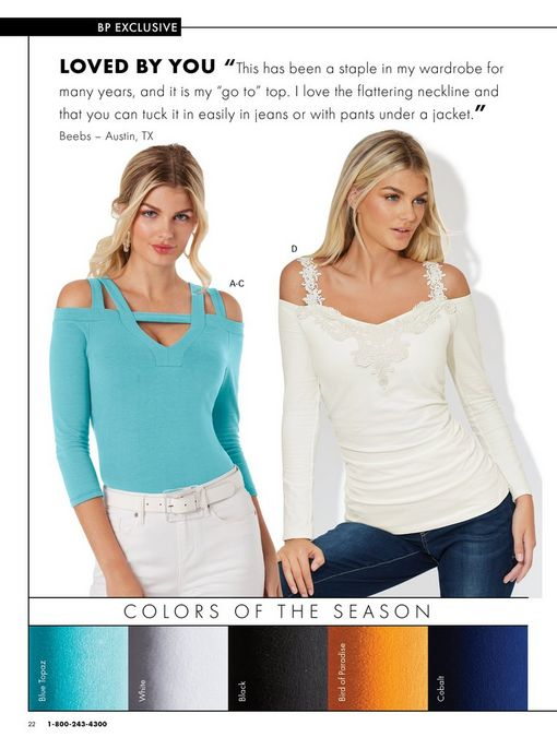 left model wearing a light blue strappy cold-shoulder three-quarter sleeves, white belt, and white jeans. right model wearing a white long-sleeve cold-shoulder lace top and jeans.