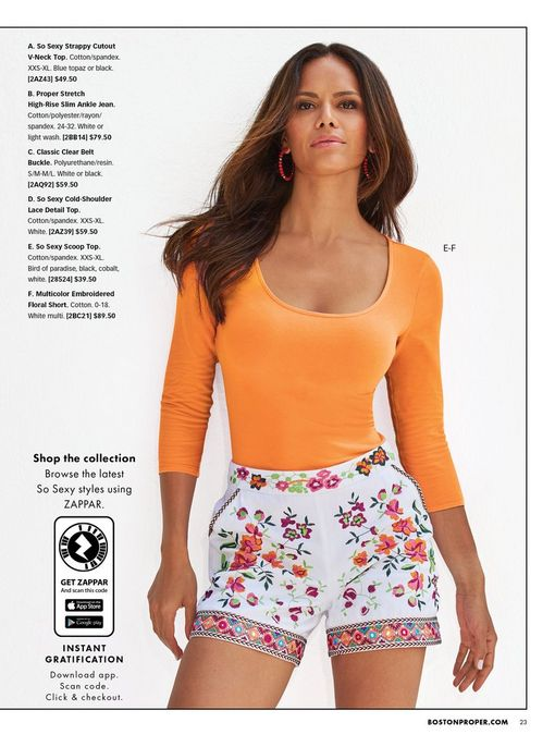 model wearing an orange three-quarter sleeve scoop neck top and white shorts with colorful floral embroidery.