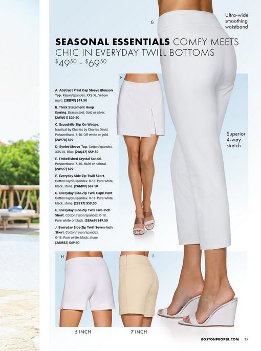 four different twill bottoms shown: white skort, white shorts, tan shorts, and white capris.