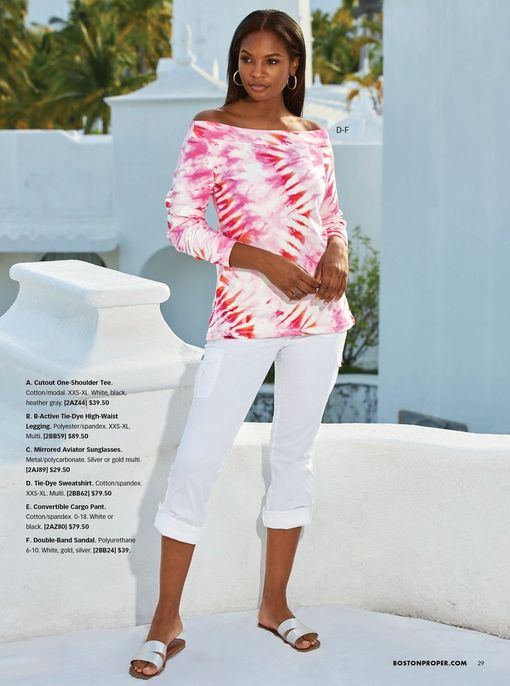 model wearing a pink and white tie-dye sweatshirt, white cropped pants, and double strap silver sandals.