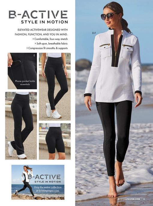 left side showing black leggings, yoga pants, and biker shorts. right model wearing a white and black long-sleeve sport top, sunglasses, and black leggings.