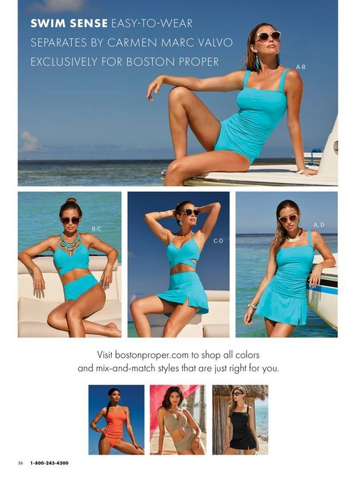 top model wearing a light blue tankini and sunglasses. bottom left model wearing a light blue high waisted bikini. bottom middle model wearing a light blue bikini with a skirted bottom. bottom right model wearing a light blue tankini with a skirted bottom.