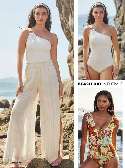 left model wearing a white one-shoulder one piece swimsuit and metallic stripe palazzo pants, top right model wearing a white one-shoulder one piece swimsuit. bottom right model wearing a sea life printed lace-up one-piece swimsuit.