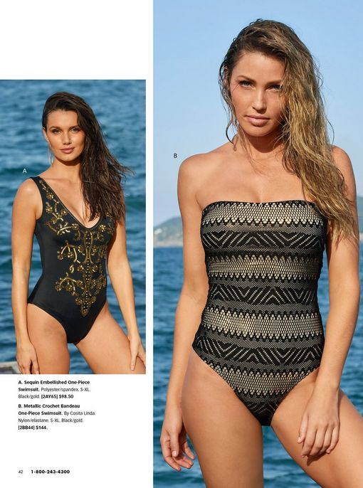 left model wearing a black one-piece swimsuit with gold embellishments. right model wearing a black and tan crochet strapless one piece swimsuit.