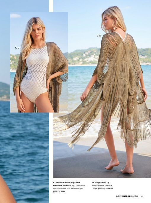 model wearing a white and gold crochet one-piece high neck swimsuit and a gold fringe cover-up.