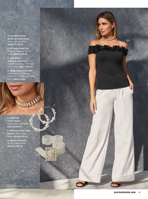 model wearing a black floral applique off-the-shoulder top, white high-waisted wide-leg pants, black single-strap heels, and a pearl choker necklace. also shown: the pearl choker necklace, pearl hoop earrings, and pearl belt.