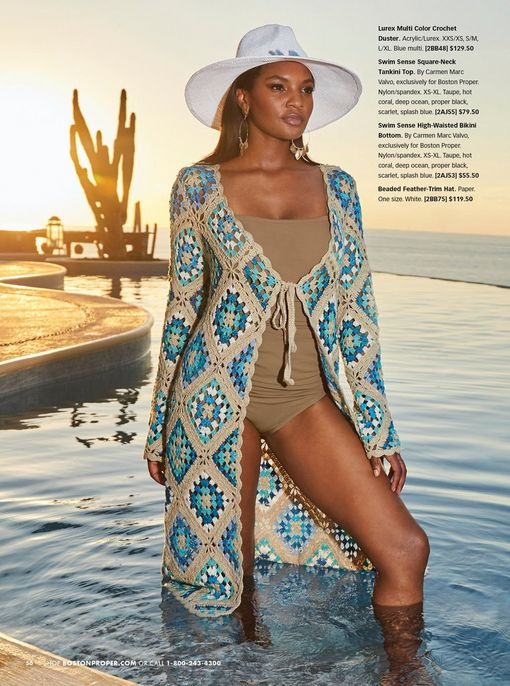 model wearing a blue and tan crochet duster, taupe tankini, and white floppy hat with turquoise feathers.