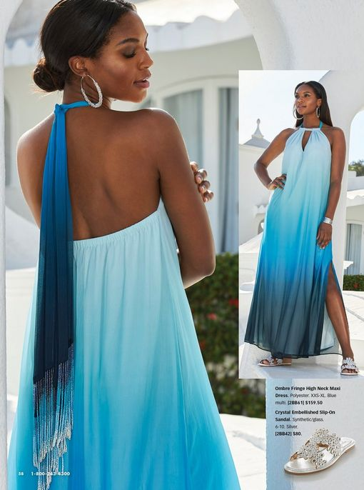 model wearing a blue ombre halter neck maxi dress, silver hoop earrings, and silver crystal sandals.