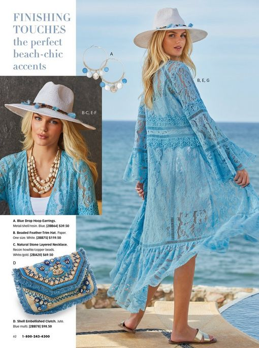 model wearing a white floppy hat with turquoise feathers, stone layered necklace, white tank top, white shorts, light blue lace duster, and silver double-banded sandals. also shown: a turquoise and white fringe shell embellished clutch.