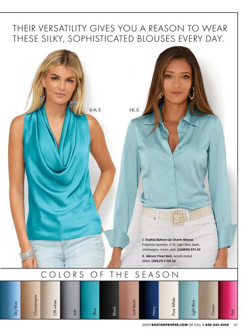left model wearing a light blue sleeveless cowl neck top and light wash jeans. right model wearing a light blue long-sleeve button down top, pearl belt, and white jeans.