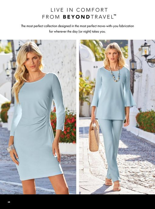 left model wearing a light blue long-sleeve sheath dress with a side ruched design. right model wearing a light blue flare-sleeve top and light blue straight leg pants, stone necklace, straw bag, raffia block heels, and gold hoop earrings.