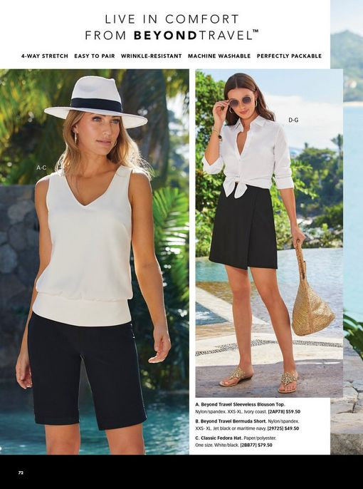 left model wearing a white blouson sleeveless top, black shorts, and a white floppy hat. right model wearing a white button-down long sleeve top that has been tied, black skort, sunglasses, straw bag, and gold crystal sandals.
