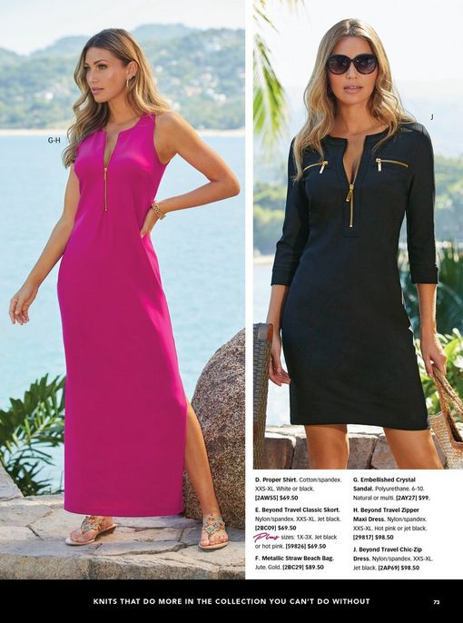 left model wearing a bright pink quarter zip sleeveless maxi dress and multicolored crystal sandals. right model wearing a black quarter-zip long sleeve dress and sunglasses.